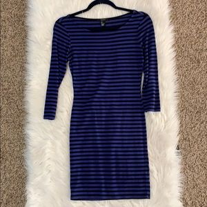 Black and blue striped pencil dress
